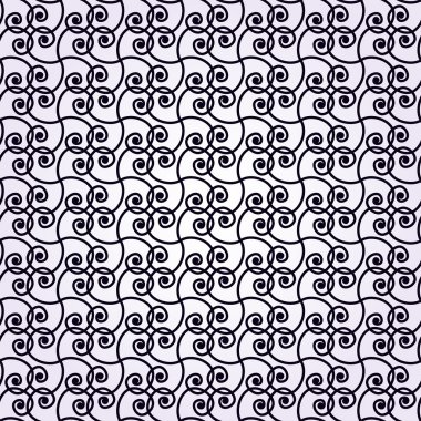 Abstract geometric seamless pattern. Monochromatic style pattern with spirals and line.