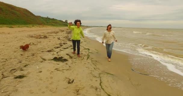 Radostné ženy baví na pláži