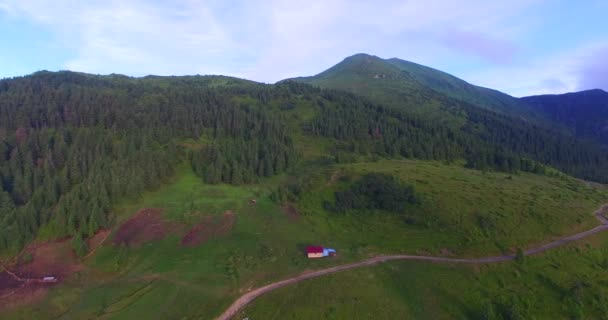 Aerial view of the panorama of the Carpathian mountains with mountain