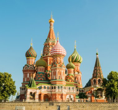 Panoramic Saint Basils Cathedral in Red Square, Moscow