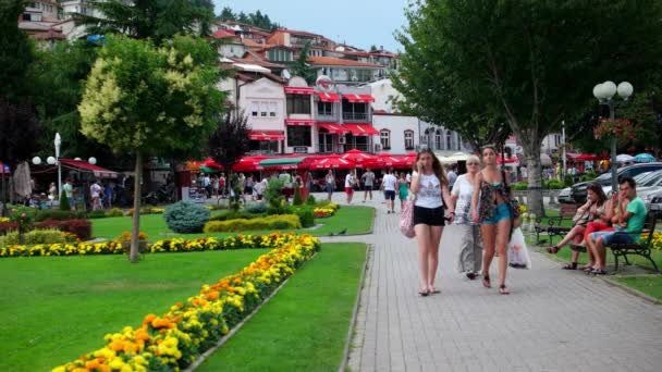 OHRID, MACEDONIA, JUNE 2015: Everyday scene from Ohrid city of Macedonia which is famous for its unesco listed historical center and beautiful lake separating Macedonia from Albania.