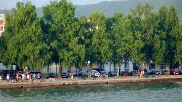 Ohrid, Makedonie, červen 2015: Pohled krásné přímořské město Ochrid od Ohridského jezera. Ohrid je známý pro jeho seznamu UNESCO historické centrum a krásné jezero oddělující Makedonie z Albánie