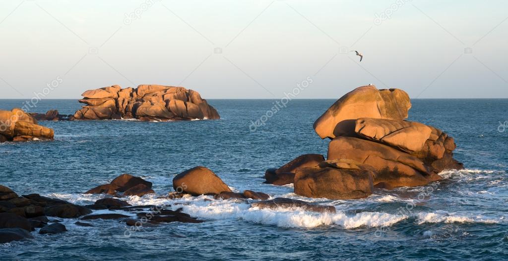 Pink Granite Coast at dusk