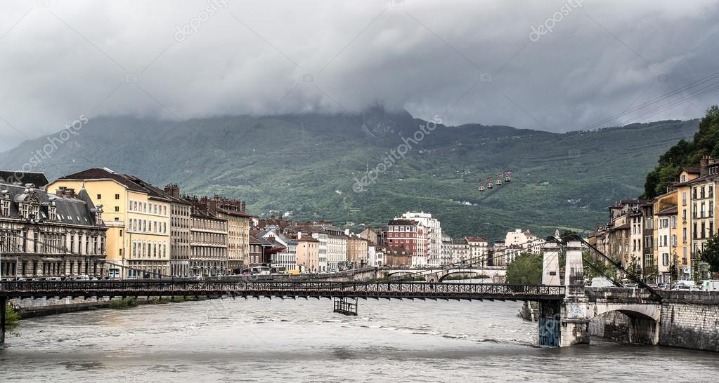 Bridge through the Isere river