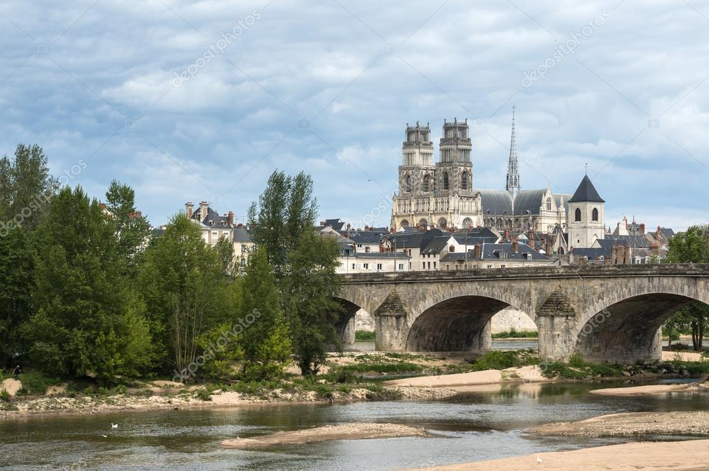 Orleans view from the Loire river, Cathedral in background, France