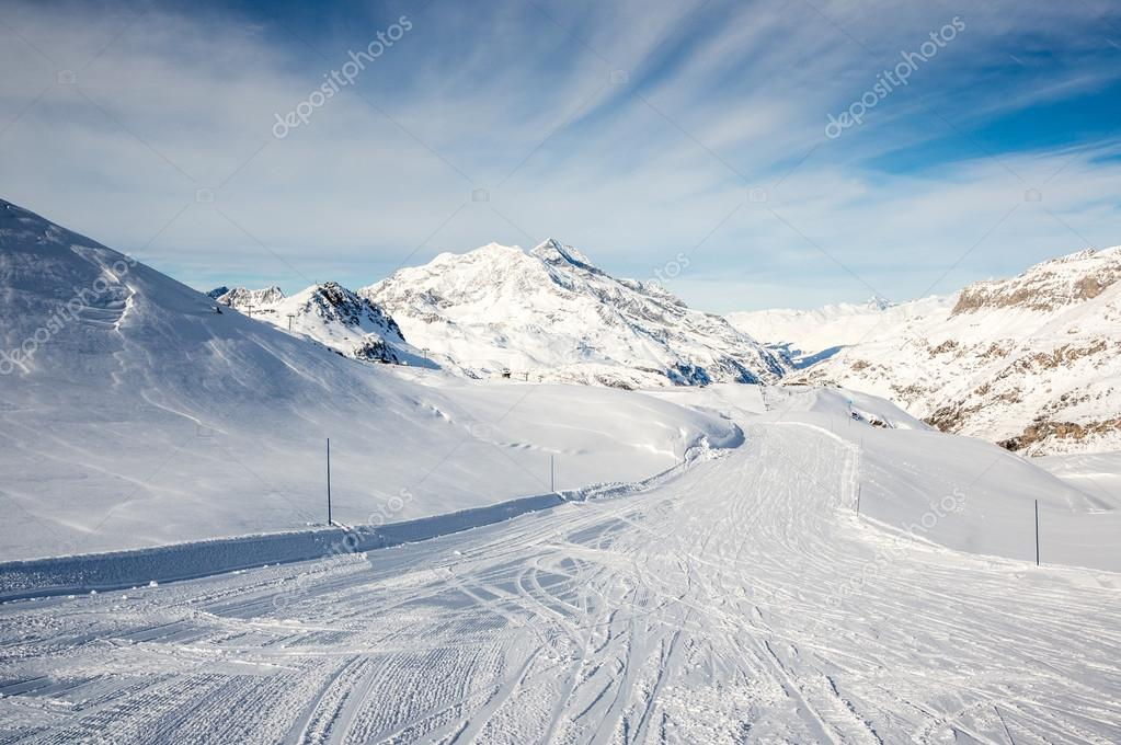 Mountain piste of ski