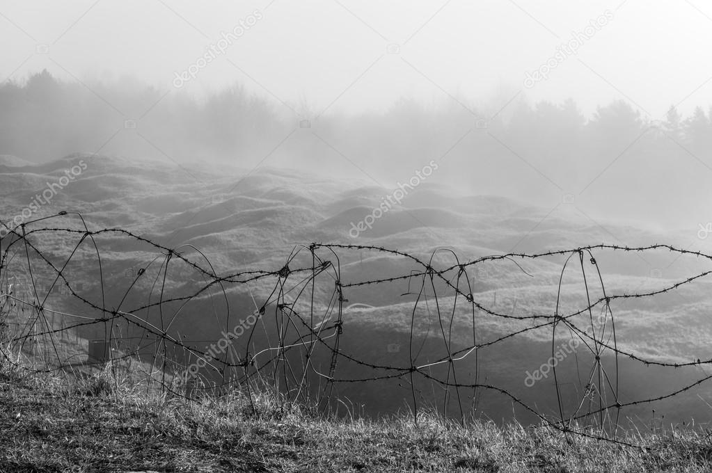 Barbed wire on the cliff