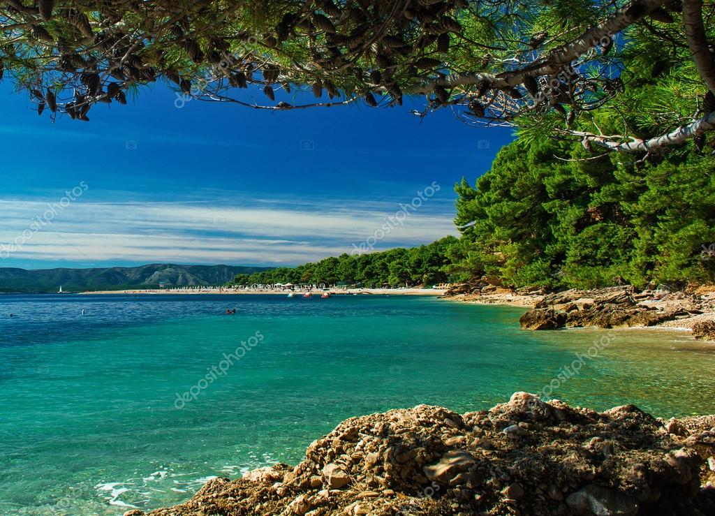 beautiful view on zlatni rat beach on island Brac, Croatia in ...