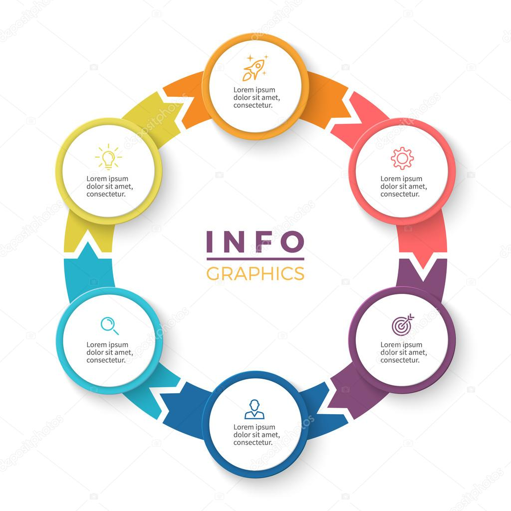 Circular arrows for infographics diagram with 6 steps options circular arrows for infographics diagram with 6 steps options parts vector business template vector by fireofheart08ail ccuart Images