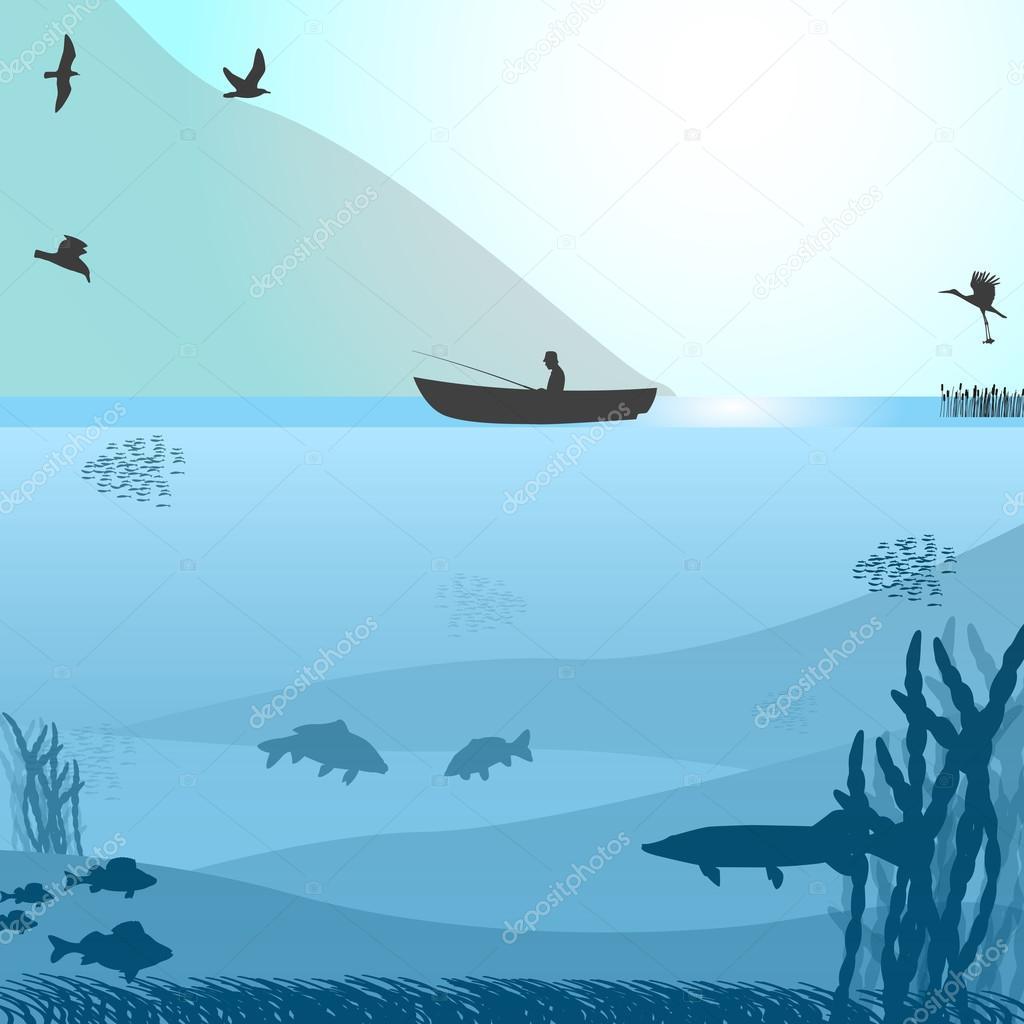 Fishing on the wild lake
