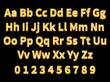 Vector illustration volumetric gold letters on a black background. English alphabet with numbers. Large and small letters. 3d letter. clip art vector