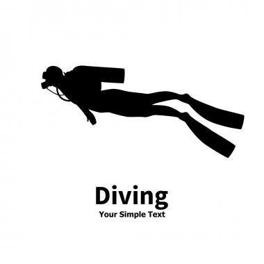Vector illustration silhouette of diver