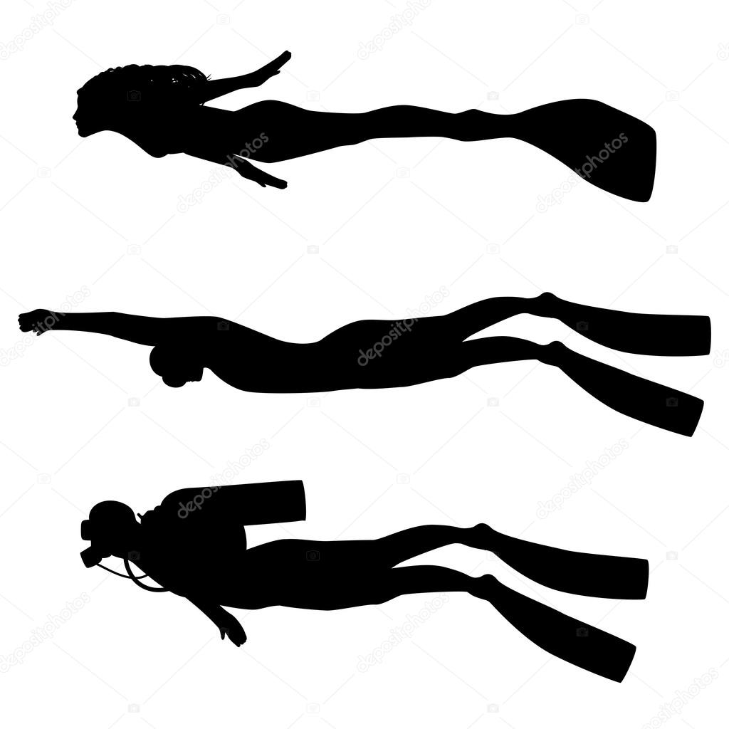 Vector illustration of a silhouette of diver