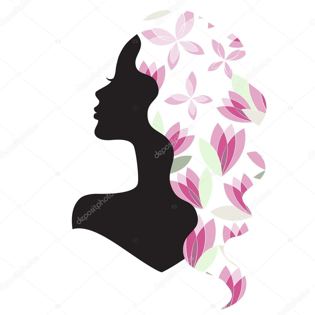 Girl silhouette with beautiful hair and flowers stock vector girl silhouette with beautiful hair and flowers stock vector izmirmasajfo