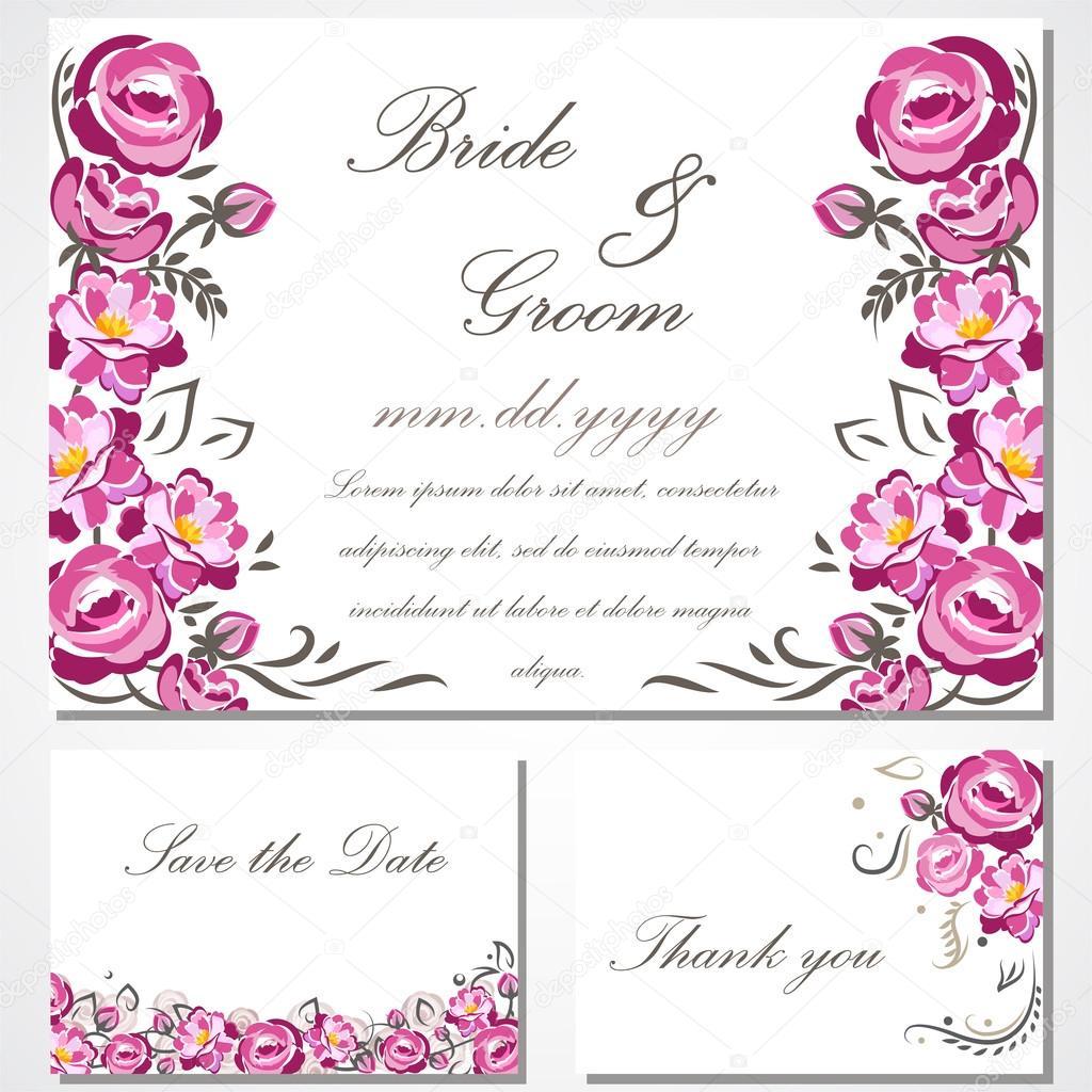 Tarjeta De Invitación De Vector Con Rosas Para Boda