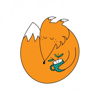 Sleeping fox with cup vector illustration