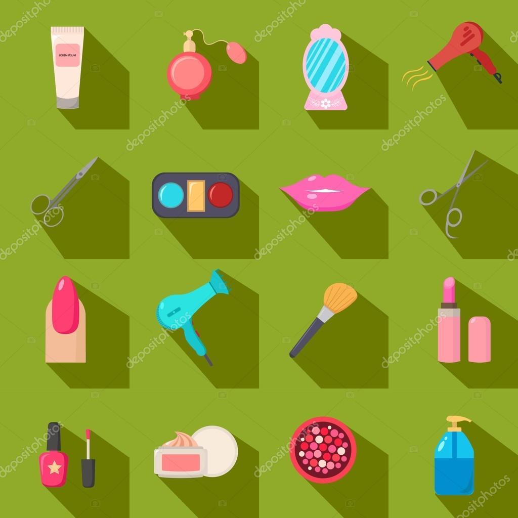 Salón de belleza. Conjunto de iconos de dibujos animados. Fondo ...