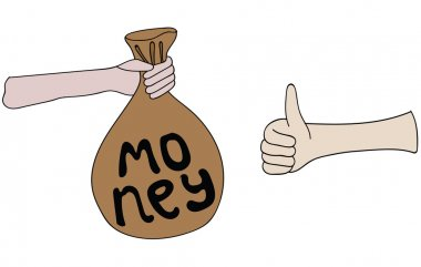 Hand giving or offering bag of money to another hand