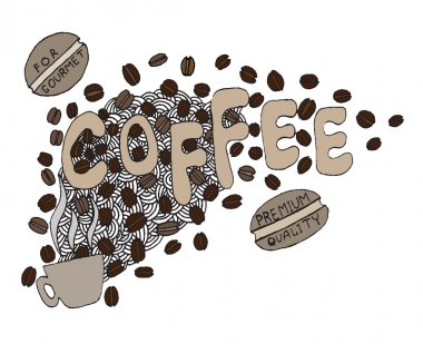 Hand drawn coffee lettering Illustrations