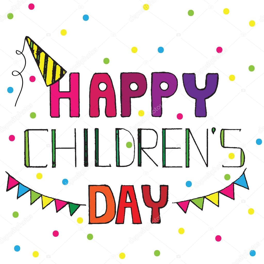 Happy Childrens Day Greeting Card With Multicolor Circle Stock