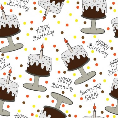 Happy Birthday seamless pattern with cake and candle