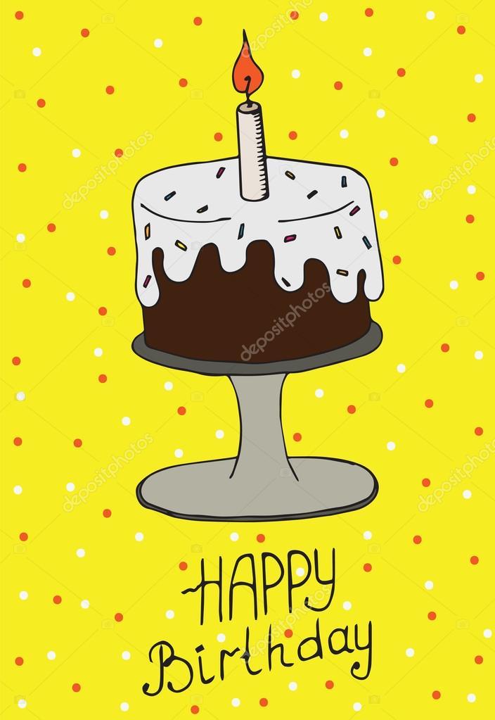 födelsedagskort mail Hälsningen födelsedagskort med tårta och ljus — Stock Vektor  födelsedagskort mail