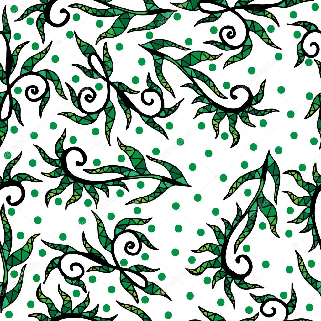 Seamless with abstract krausens and leaves with green circle