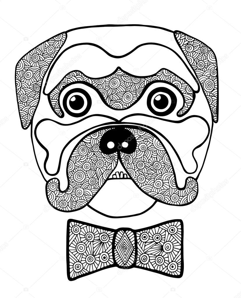 Siyah çizgi şirin Dog Heada Soyut Biçimde Beyaz Fiyonklu Stok