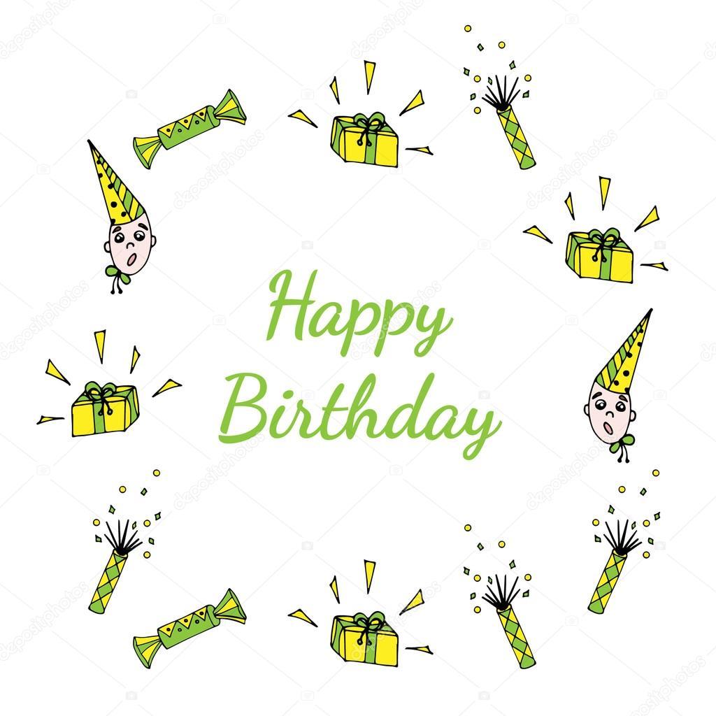 Happy Birthday Greeting Card mit Rahmen Süßigkeiten, Kind, gi zu ...
