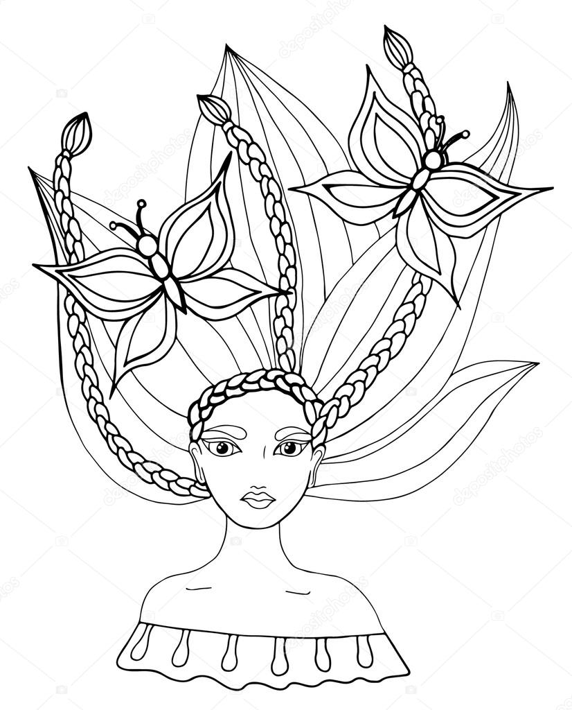 portrait of a beautiful girl with butterfly in hair can be used as a card of beauty shop and other salon mono color black line art element for adult