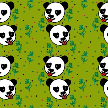 Seamless with hand drawn black line head of Panda and bamboo