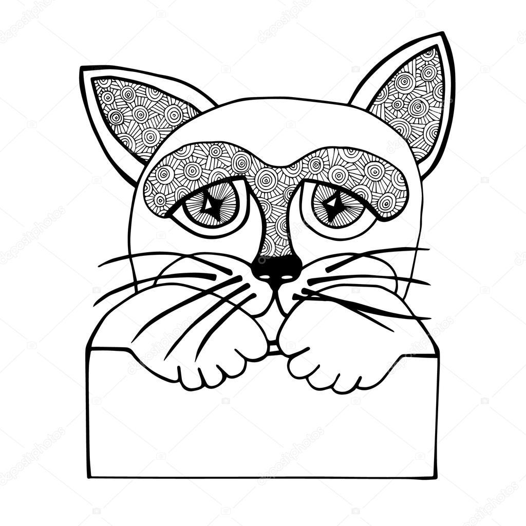 Cabeza de gato aislado Resumen de línea negra con cartel — Archivo ...
