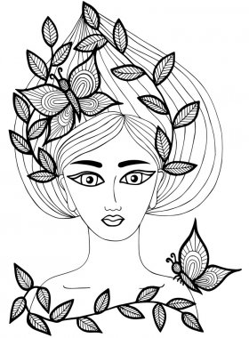 Portrait of a beautiful girl with butterfly and leaves on the lo