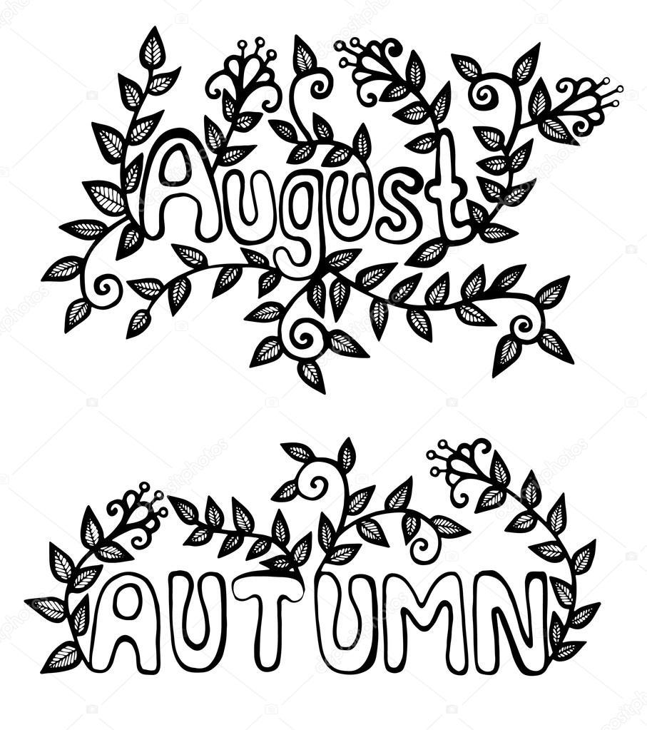 Inscripción agosto y otoño con flores y hojas verdes — Vector de ...