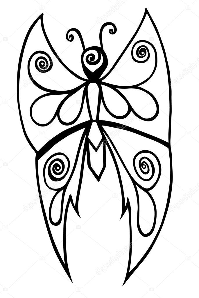 Schwarze Linie Schmetterling Tattoo, Malbuch für Erwachsene und ...