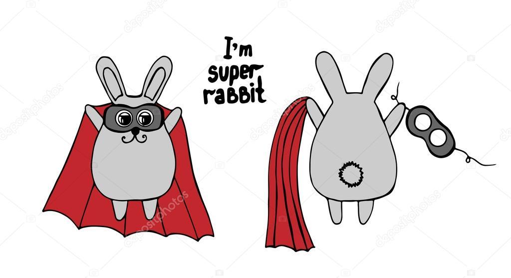 Tavşan Bir Kırmızı Pelerin Ve Maske Stok Vektör Ellina200 At Mail