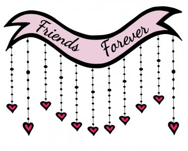 Sweet inscription Friends forever on the pink ribbon