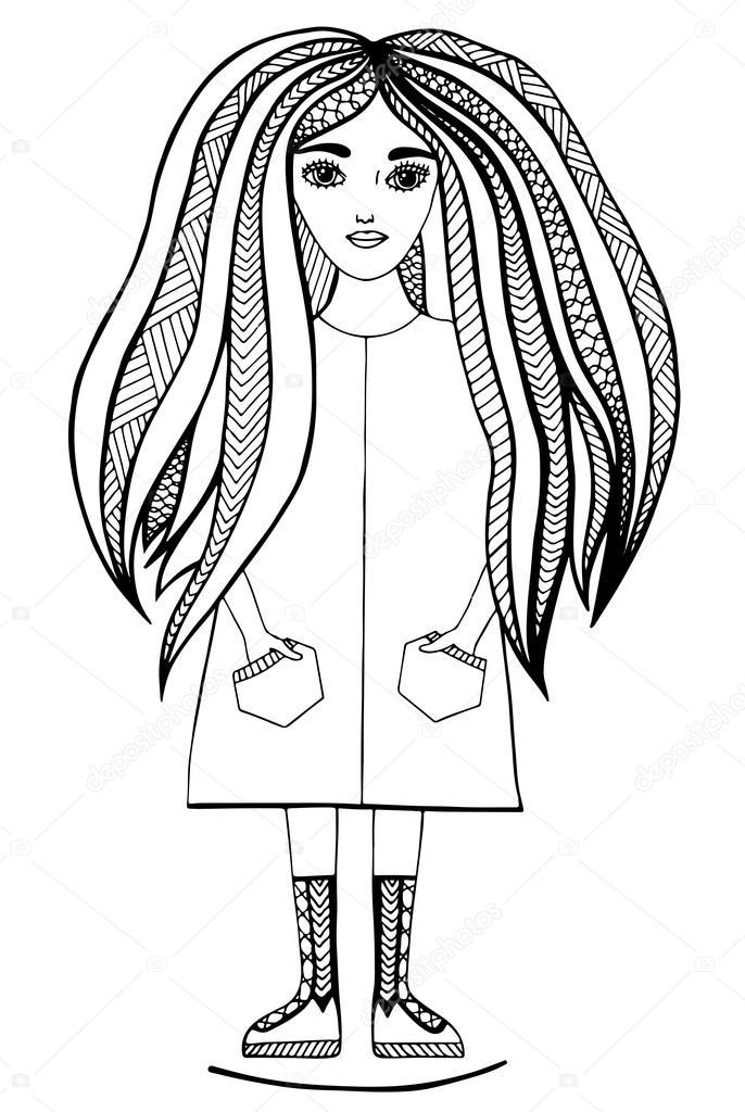 Uzun Saçlı Genç Güzel Kız Stok Vektör Ellina200 At Mailru 119304016