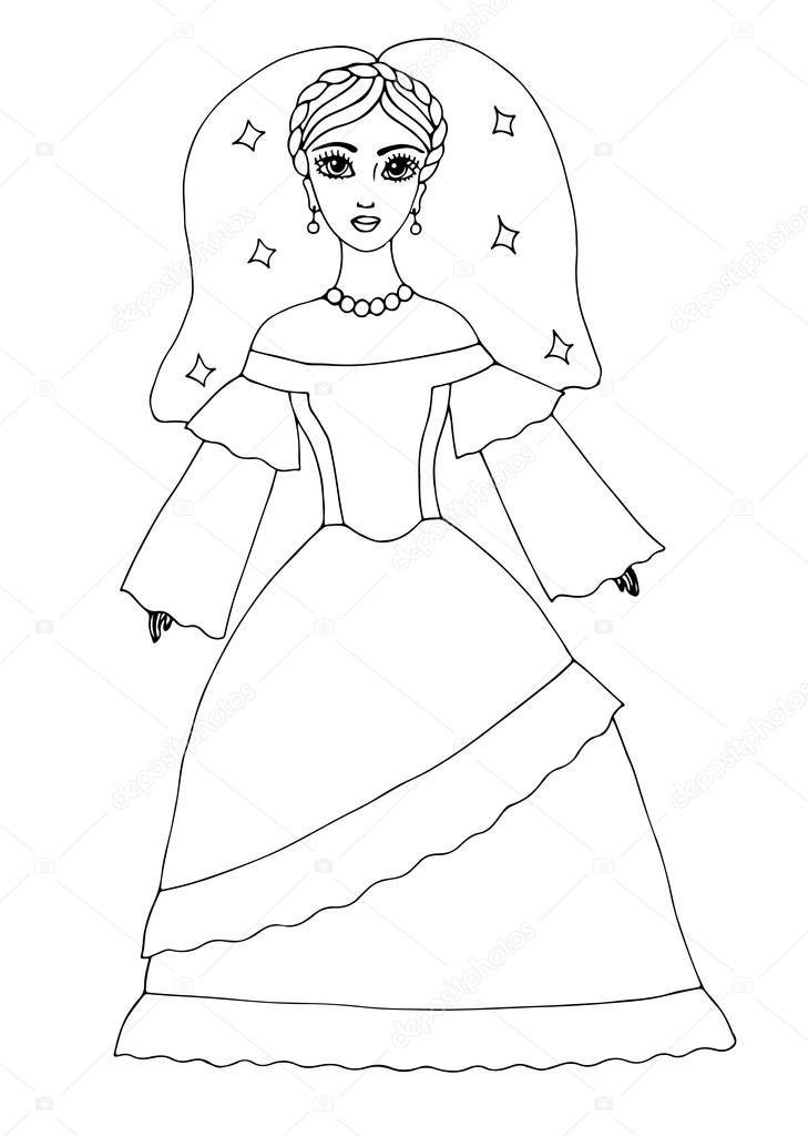 Wedding Celebrate Beautiful Girl In Long Dress Stock Vector