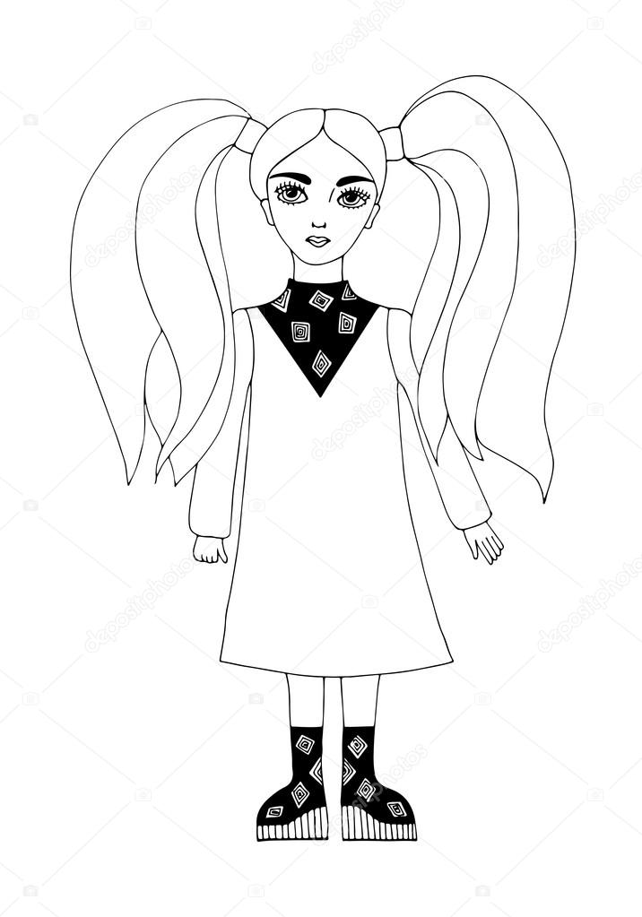 Young Beautiful Girl With Long Hair Stock Vector C Ellina200