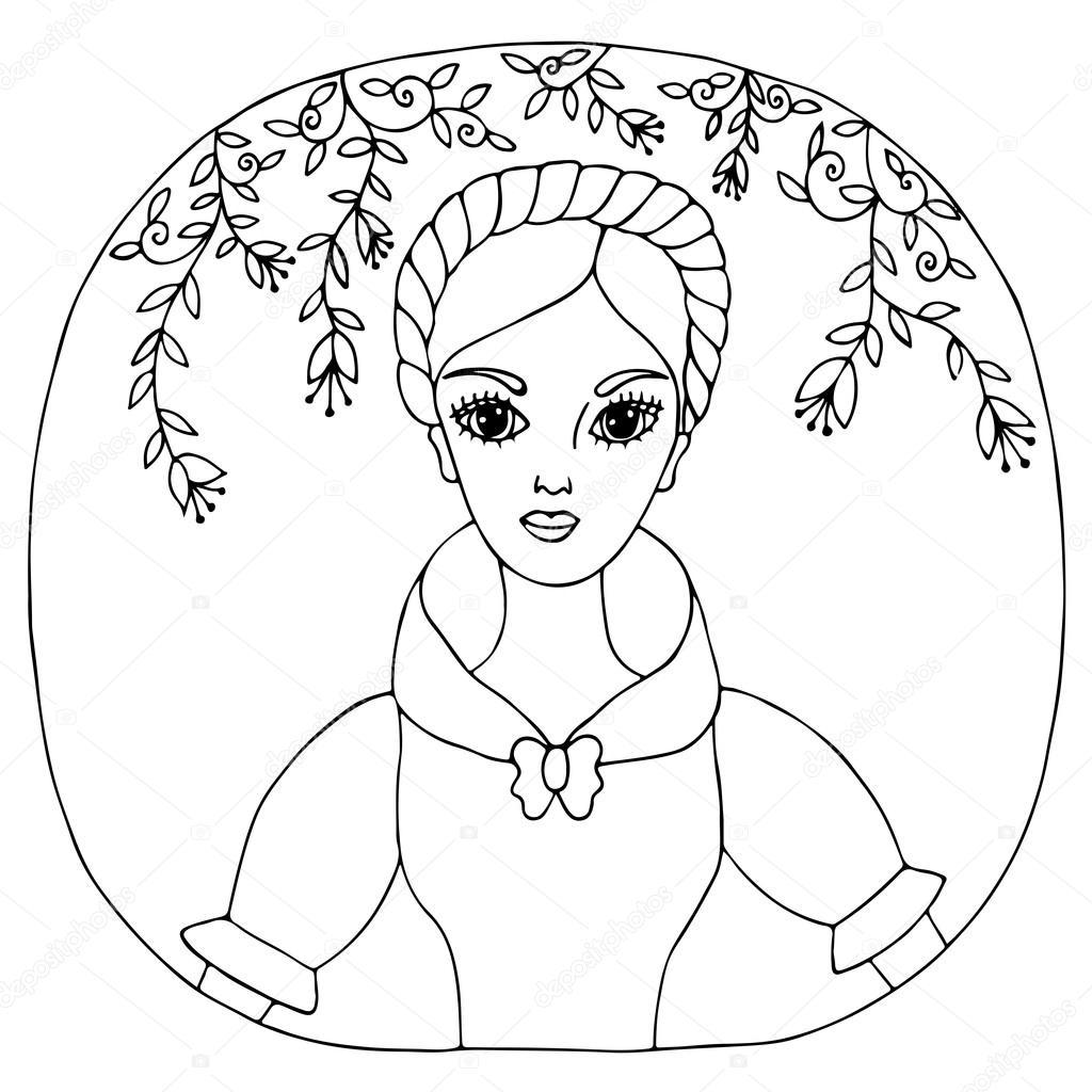 Retrato chica hermosa en el vestido con flores y hojas — Vector de ...