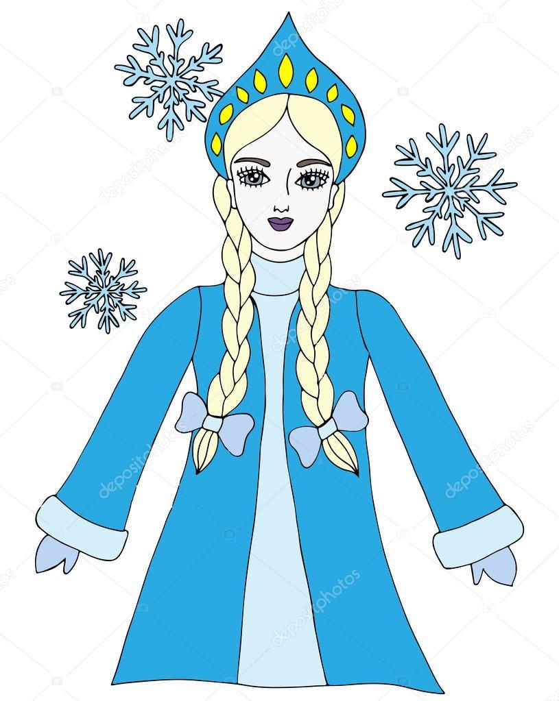 Kar Tanesi Ile Renkli Kar Kraliçesi Kış Kız Stok Vektör