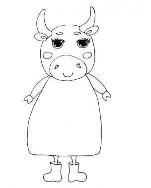 Cute bull cartoon coloring book or page. Symbol bull year. icon