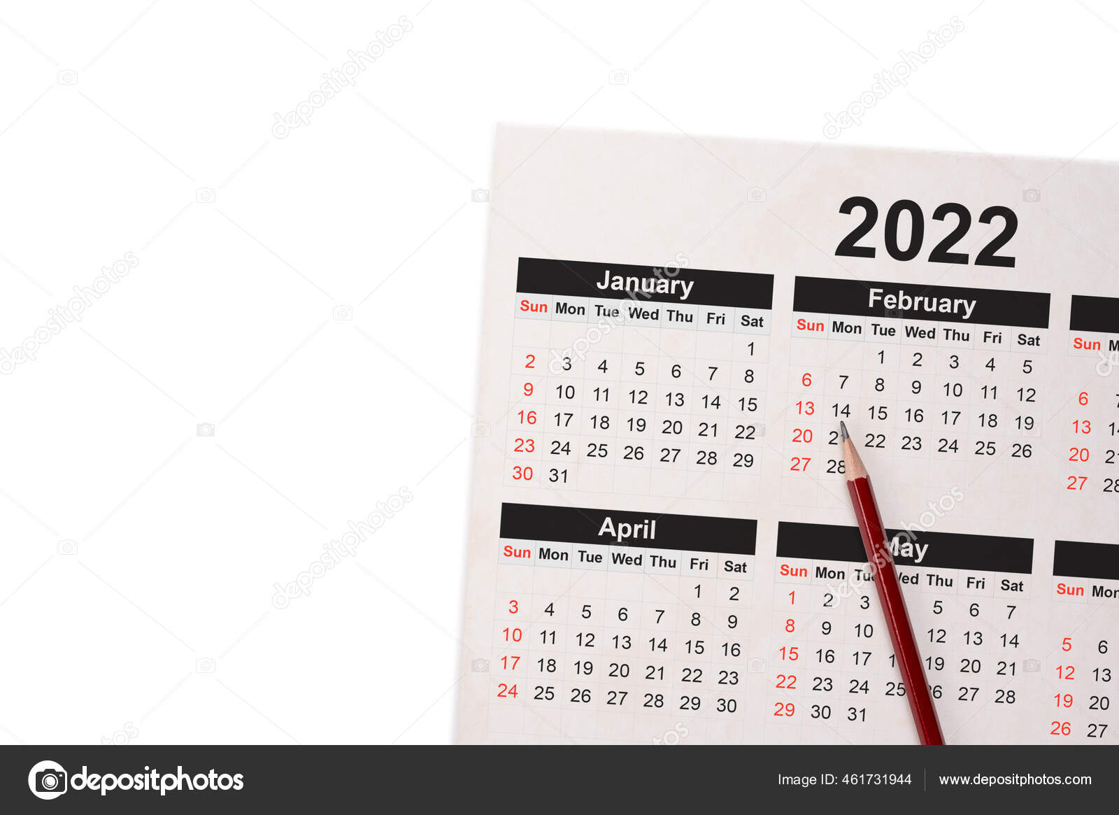 Appointment Calendar 2022.Close Pencil Calendar 2022 Close Pencil Calendar White Using Writing Stock Photo Image By C Celt Sarmat Gmail Com 461731944