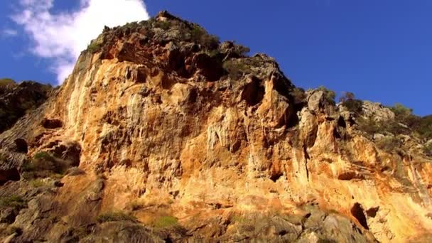 Colorful canyon in the mountains of Mallorca against deep blue sky