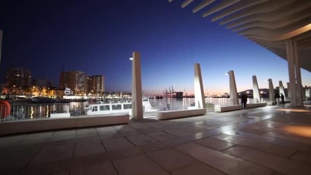 Báječná noc záběr oblasti přístavu Port Malaga