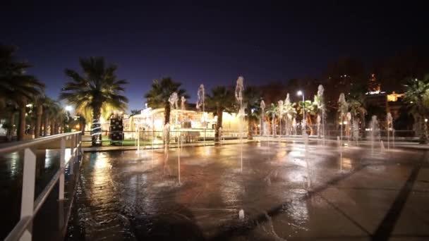 Beautiful fountains in Malaga by night