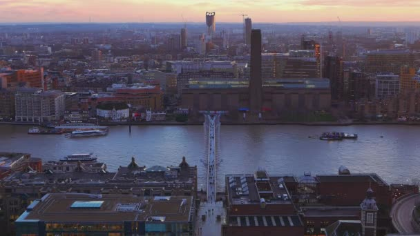 River Thames London and Millennium Bridge in the evening  - view from above