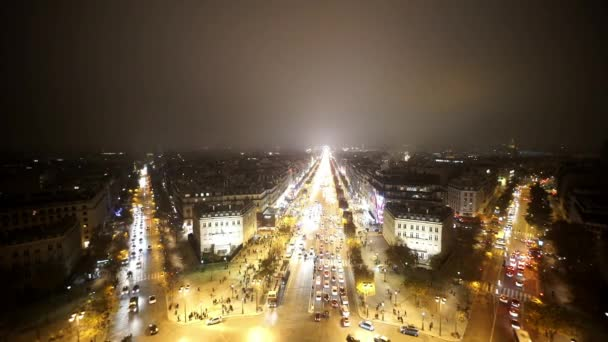 Wide angle aerial shot of Champs Elysees Avenue by night