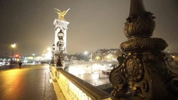 Golden bridge over River Seine called Pont Alexandre III